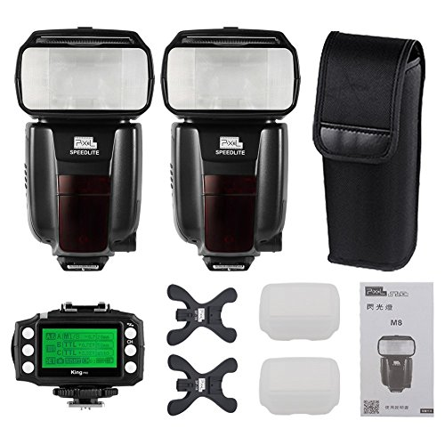 Pixel M8 2PCS with Built-in 2.4G Wireless Flash Speedlite Kit+LCD Transceiver for Nikon D800 D700 D300 D200 D3 D90 D600 D3000 D5000 D7000 DSLR Cameras