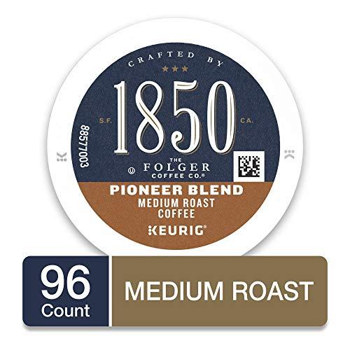 1850 by Folgers Pioneer Blend Medium Roast Coffee, 96 Keurig K-Cup Pods