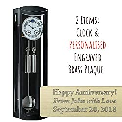 Qwirly 2-Item Bundle: Hermle MORNINGTON Mechanical Regulator Wall Clock in Black 70650740058 & Personalized Engraved Brass Plaque for Wedding, Anniversary or Employee Retirement