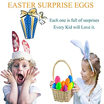 Easter Eggs Toys Filled Easter Eggs Plastic Eggs 48 PCS Filled Surprise Eggs Bright Colorful Prefilled Plastic Easter Eggs with 48 Easter Eggs Toys Perfect for Easter Egg Hunt Surprise Egg Party Supply for Kids Assorted Color