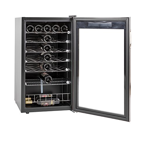 SMETA 35 Bottles Wine Cellar Freestanding Champagne Beer Cooler Refrigerator Quiet Operation,39.2℉~64.4℉