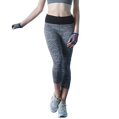 Femmes Pantalon de Sport - Gris Legging Fitness Yoga Stretch Pantalon Court 2e076019113