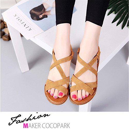 Marron Shoes Sandales de À Décontractée Plage Chaussures Printemps Talon Plate Femmes Été Rétro Mode Cuir 6pfTqW