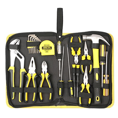 (DOWELL 24 Pieces Homeowner Tool Set, Home Repair Hand Tool Kit with Portable Tool Bag)