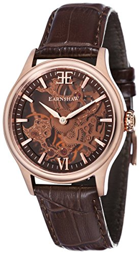 Thomas Earnshaw Mens The Bauer Shadow Skeleton Watch - Brown/Rose Gold