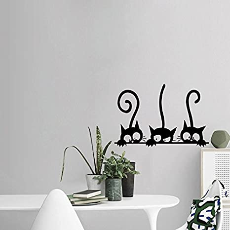 Gysad Patrón de gato Vinilos decorativos pared Negro Cuadros modernos baratos Interesante Decoracion hogar size 30 * 20CM (A): Amazon.es: Hogar