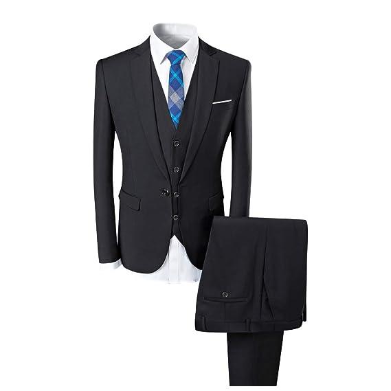 Abiti da Uomo 3 Pezzi Slim Fit Wedding Formal Business Monopetto Nero con 2  Bottoni Giacca da Giacca Nera  Amazon.it  Abbigliamento 8b9a5a73d42