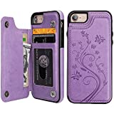Vaburs iPhone 7 iPhone 8 Case Wallet with Card Holder, Embossed Butterfly Premium PU Leather Double Magnetic Buttons Flip Shockproof Protective Cover for iPhone 7 iPhone 8 Case(Purple)