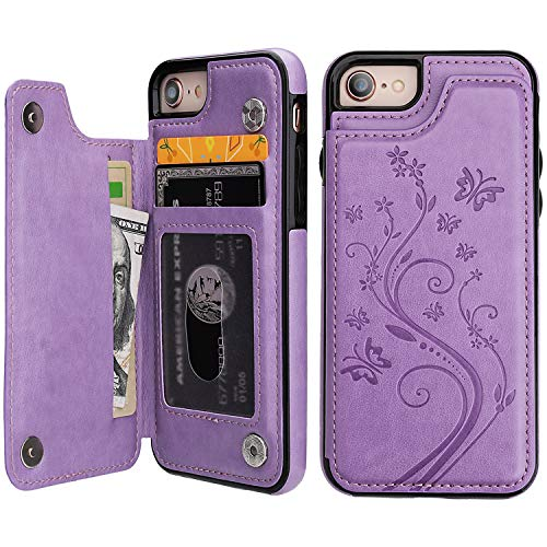 iPhone 7 iPhone 8 iPhone SE 2020 Case Wallet with Card Holder, Vaburs Embossed Butterfly Premium PU Leather Double…