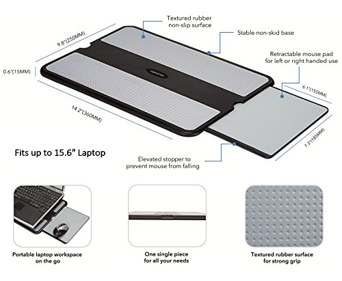 Heat Computer Mouse Left Portable Lap For AboveTEK Tray Table Work Desk Sofa Non Surface Tablet Stable Couch Right Shield w or Notebook Laptop Bed Cooler Pad Gray Slip Stand Sturdy Retractable w Travel dnOTYqx8wY