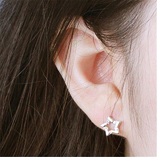 Hosaire 1 Paar Ohrringe Mode Silber Pentagramm Legierung Ohrring