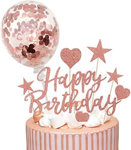 Humairc Rose Gold Cake Topper Rose Gold Confetti Ballon Verjaardag Cake Decoratie Glanzende Cupcake Topper voor Meisjes…