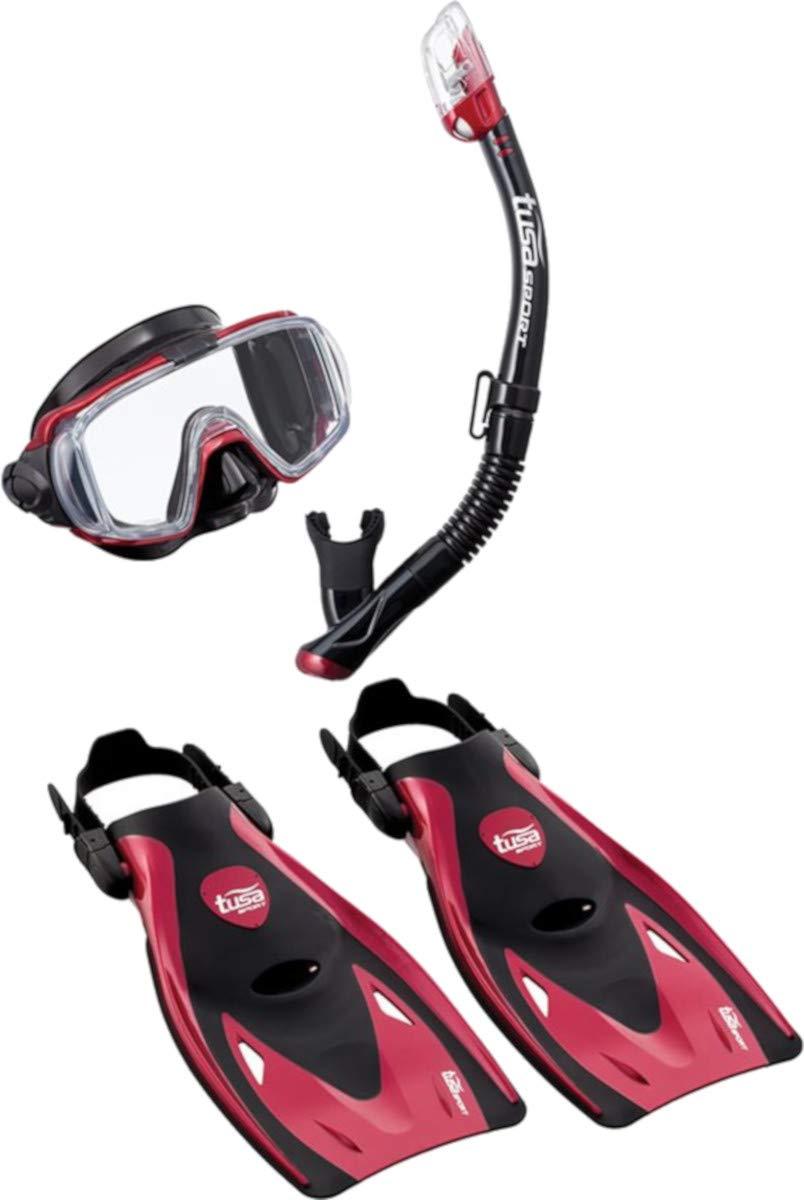 TUSA Sport Adult Black Series Visio Tri-Ex Mask, Dry Snorkel, and Fins Travel Set, Black/Metallic Red, Large