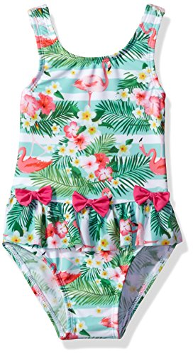 Sol Swim Baby Girls' Solo Swim-Infant-Tropical Flamingo One Piece Swimsuit, Multi, 18 Mos