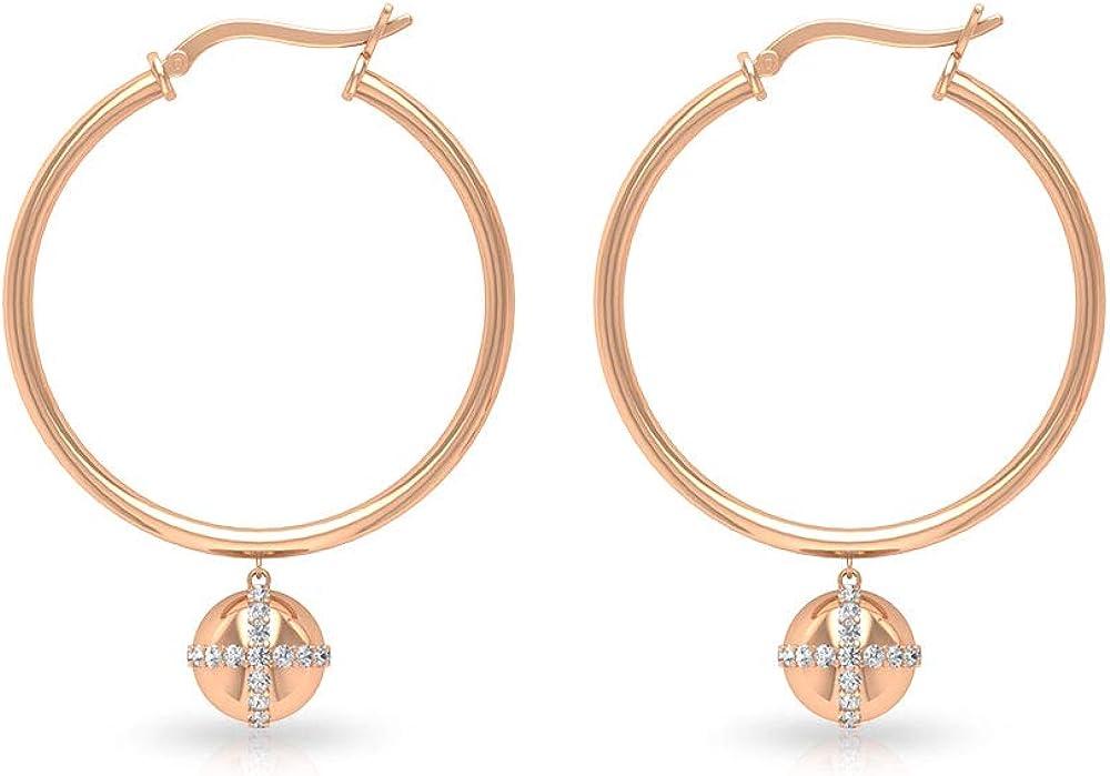 Pendientes de bola de diamante certificado IGI de 0,49 ct, declaración de gota para mujeres, IJ-SI claridad de color, pendientes de aro de diamantes, pendientes colgantes de bola de oro, con clip.