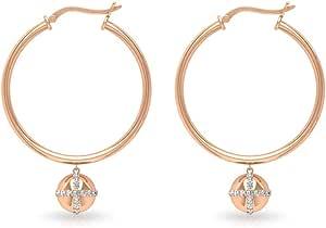 0.49CT Round IGI Certified Diamond Large Hoop Earring, Antique Solid 14k Gold Ball Statement Drop Earring, Unique Lock Drop Dangle Women Hoops Earring, clip-on