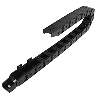 LMioEtool R55 25mm x 65mm with End Connectors Inner H x Inner W openable Black Plastic Yellow Dot Cable Wire Carrier Drag Chain 1M Length for CNC Bridge Type