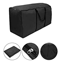 Cushion Storage Bag, Patio Outdoor Chaise Lounge Zippered Waterproof Cover Storage Bag with Handles