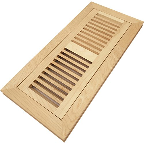 Maple Unfinished Wood - Homewell Maple Wood Floor Register Vent, Flush Mount with Frame, 4x12 inch, Unfinished