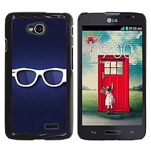 TECHCASE**Cubierta de la caja de protección la piel dura para el ** LG Optimus L70 / LS620 / D325 / MS323 ** Glasses Hipster Eye White Blue Symbol