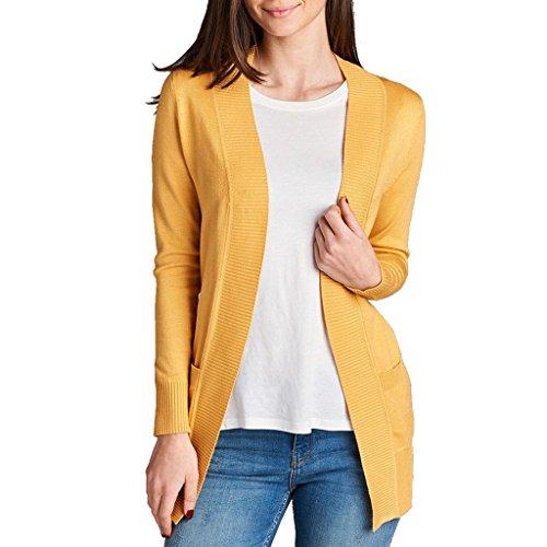 Women's Long Sleeve Knit Rib Open Front...Cardigan Golden Yellow,, Medium