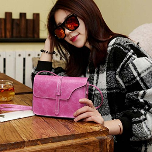 Shoulder mini diagonal Messenger Bag Body Pink Cross Leather GINELO Women's Hot shoulder Vintage g0OSqS