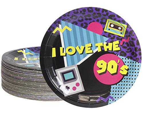 Disposable Plates - 80-Count Paper Plates, 90s Party Supplies for Appetizer, Lunch, Dinner, and Dessert, Kids Birthdays, 9 Inches in Diameter ()