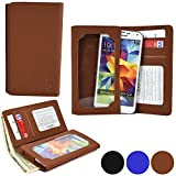 Cooper Cases(TM) Infinite Wallet BlackBerry Z3 / Z30 / Leap Case in Brown (PU Canvas Cover, Built-in Screen Protector, Card Slots, ID Holder, Billfold)