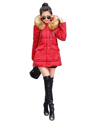 SaiDeng Chaqueta Abrigo De Con Capucha De Manga Larga Para Mujer Rojo S