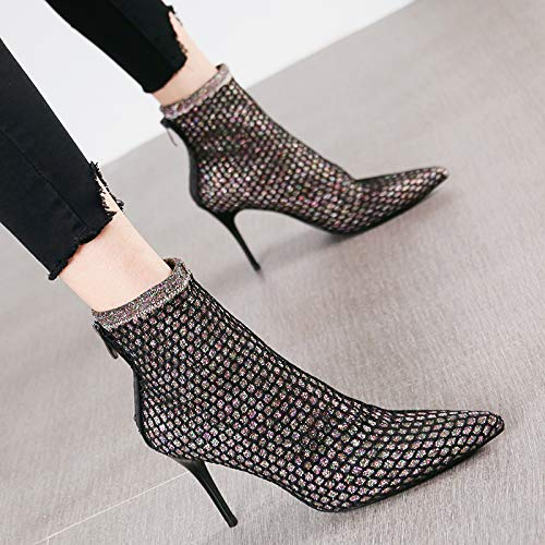 HRCxue Pumps Sexy Mesh Mode Spitze Stiletto Heels Damen Reißverschluss Stiefel Stiefel