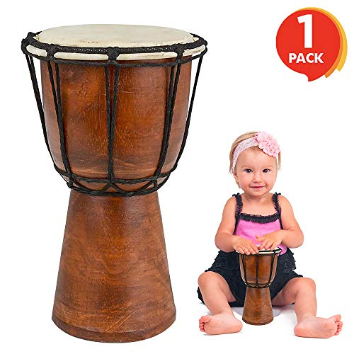 """ArtCreativity 8"""" Mini Wooden Toy Drum for Kids   Rustic brown Wood and Authentic Design   Fun Musical Instrument for Children   Gift Idea, Party Supplies, Birthday Party Favor for Boys, Girls, Toddler"""
