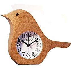 Best-mall Non-Ticking Silent Handmade Wood Alarm Clock Desk Clock,The Morning Bird Style (Beech)