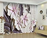 Cheap Newrara 3D Artificial Elegant Beige Flowers Printed 2 Panels Blackout Window Curtain For Living Room/Bedroom,Free Hook Included (Beige, 80W63″L)