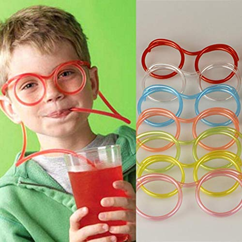 OYTRO Kids Crazy Fun Novelty Flexible Glasses Drinking Straw Tube Gift Party Supplie Party Favors