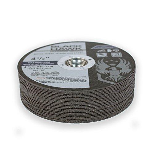 25 Pack Black Hawk 4-1/2'' x .040 x 7/8'' Arbor Metal & Stainless Steel Cut Off Wheels - Ultra Thin Discs