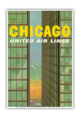Pacifica Island Art Chicago, USA - Lake Shore Drive Mies Buildings Twin Towers - United Air Lines - Vintage Airline Travel Poster by Stan Galli c.1955 - Master Art Print - 13in x 19in -