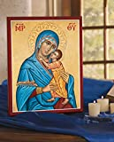 Monastery Icons Blue Madonna Virgin Mary Mounted