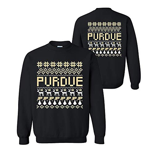 Purdue University Seal - UGP Campus Apparel AW30 - Purdue Boilermakers Holiday Ugly Sweater Crewneck Sweatshirt - 2X-Large - Black
