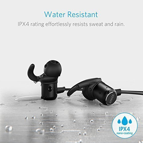 Anker SoundBuds Slim Bluetooth Earbuds, Lightweight Wireless Headphones with Magnetic Connection, IPX4 Water Resistant Sport Headset with Mic, works with iPhone, iPad, Samsung, Nexus, HTC and More