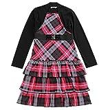 Bienzoe Girl's Long Sleeve Knit Jumper School Uniforms Button Layer Dress Black/Pink S