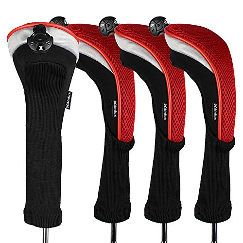 Andux 4pcs/Pack Long Neck Golf Hybrid Club Head Covers with Interchangeable No. Tag CTMT-02 (Red) (Adams Tight Lies 5 Iron)