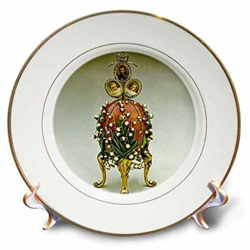 Faberge® Eggs - Picturing Faberge® Egg Lilies Of The Valley - 8 inch Porcelain Plate (cp_565_1) - Faberge Egg Plates