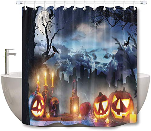 DoreenAbe Surreal Shower Curtain, Halloween Shower Curtain, 3D Printing Scary Pumpkin Bats Elements Funny Bathroom Decor, Waterproof Fabric 71 x 79 Inch with Hooks