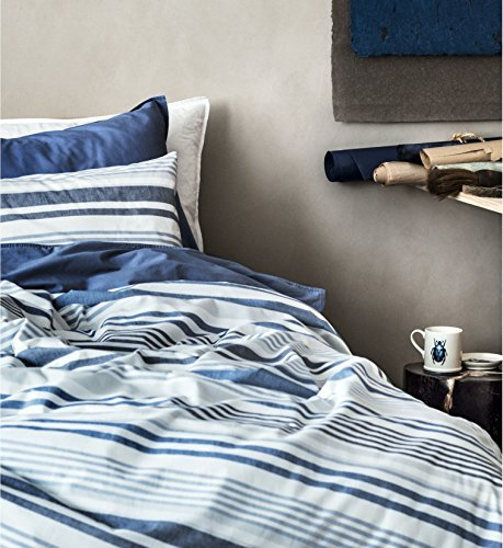 (Classic Chambray Bedding 100% Washed Cotton Duvet Quilt Cover 3pc Set Solid Striped Grey Navy Blue Heathered Natural Gray Soft Modern City Chic Style Twin Full/Queen or King (Queen, Navy)