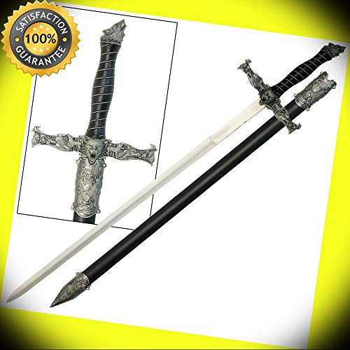- Spirit of the Alpha Wolf Medieval Stainless Steel Knights Sword Costume Replica perfect for cosplay outdoor camping