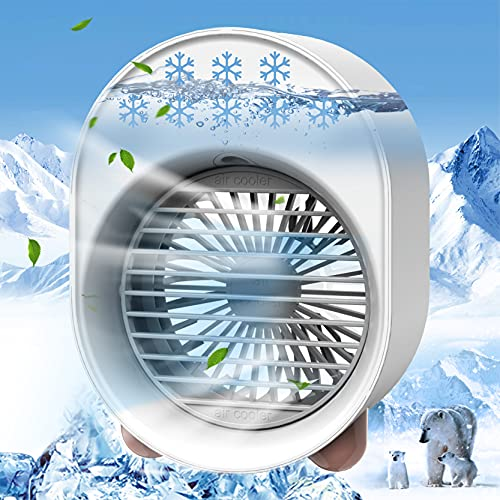 Portable Air Conditioner Personal Evaporative Air Cooler, 4 in 1 USB Air Cooling Fan with Colorful Atmosphere Light, Mini Portable AC Desk Misting Fan for Small Room/Office/Dorm/Bedroom/Camping