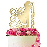 Personalized Wedding Cake Topper Customized Mr. and Mrs. Last Name 4 Color Type and 24 Colors Design 6 (Mirror Colors)