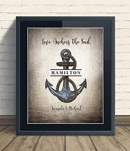 Custom Love Anchors The Soul Unframed Print Wedding Anniversary Gift, Personalized Keepsake Artwork includes Couples, Family Names and Established Date, Gift for the Newlyweds and Bridal Shower (Couple Keepsake)