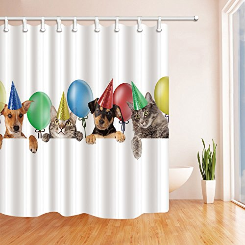 White Orgy Balloon Animal Dog And Cat Pattern Multicolor 70x70 Inches Polyester Fashion Personality Digital Printing Shower Curtains Waterproof Safe Bathroom Curtain, Blue Green Brown Gray Yellow - Orgy Black Women