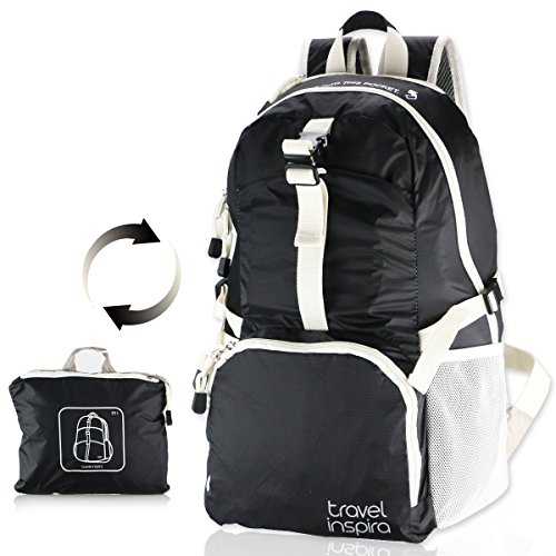 travel inspira Packable Backpack Collapsible Backpack Lightweight Foldable Hiking Backpack Camping Cycling 25L